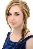 image of senior prom  - Beautiful 18 year old girl in prom dress headshot on white - JPG