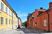 Cozy Sunny Street Of Uppsala. Sweden poster