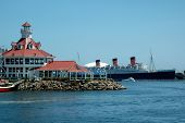 pic of long beach  - long beach harbor with queen mary in background - JPG
