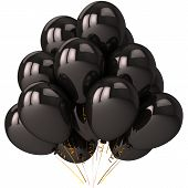 stock photo of prank  - Black balloons with strong reflections - JPG