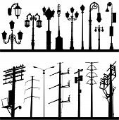 pic of lamp post  - set of city objects illustration design vector - JPG