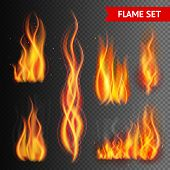 Постер, плакат: Fire on transparent background