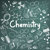 Постер, плакат: Chemistry Science Theory And Bonding Formula Equation Doodle Handwriting And Tool Model Icon In Bla
