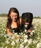 Teen And Black Dog