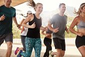 Happy Young Friends Running Together poster