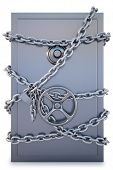 foto of bank vault  - Safe clad in steel chain with a lock - JPG