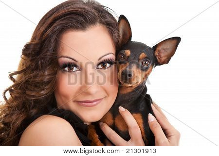 Young Woman With Her Puppy