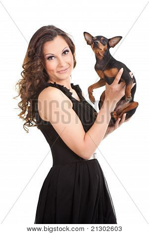Beautiful  Girl Holding Small Cute Dog