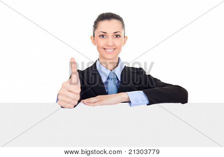 Businesswoman With Thumbs Up And White Sign