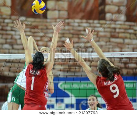 SZOMBATHELY, HUNGARY - JUNE 4: Zsanett Miklai (9) in action at a CEV European League woman's volleyball game Hungary vs Bulgaria on June 4, 2011 in Szombathely, Hungary.