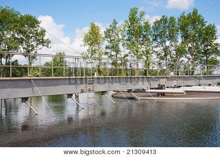 Sedimentation Tank In A Sewage Treatment Plant.
