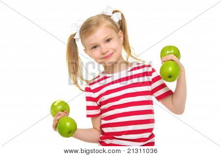 Girl trains fitness dumbbells from apples