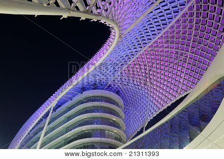 Yas Marina Hotel Illuminated At Night