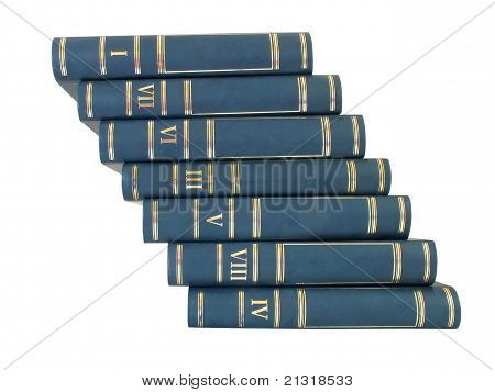 Ladder Pile Of Books Isolated On White Background