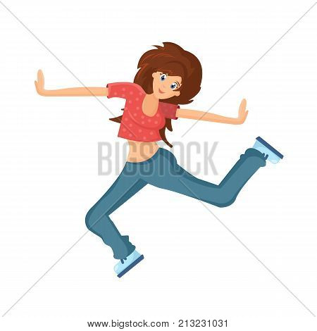 poster of People dancing character in different poses. Beautiful dancing girl, teenager, makes vigorous movements, connecting movement of hands, feet, under rhythmic music. Cartoon vector illustration isolated