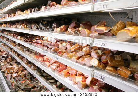 Shelves With Smoked Meat
