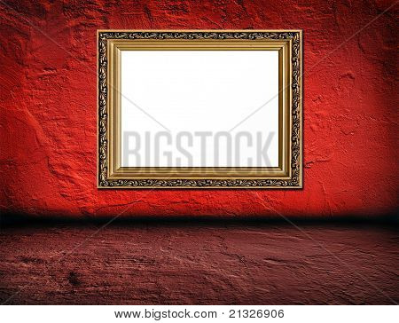 Old  Elegant Golden Frame On Red Plaster Rough Background And Pink Betone Floor  Foreground