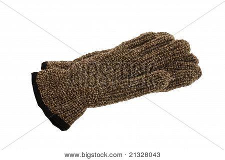 Pair Of Brown Melange Woollen Gloves