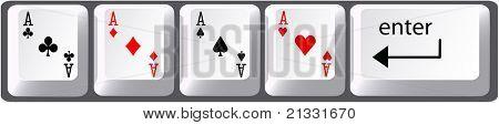 Four aces poker hand card symbols on computer keyboard keys