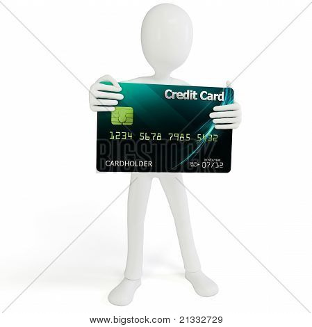 3D Man Holding Bank Credit Card