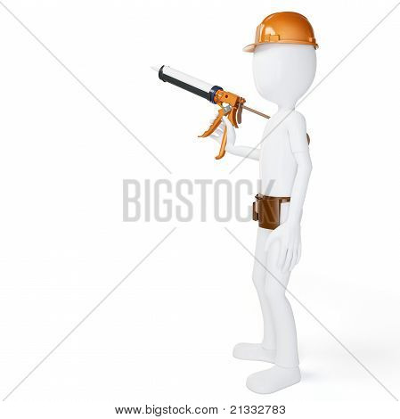 3D Man Worker With Caulk Gun