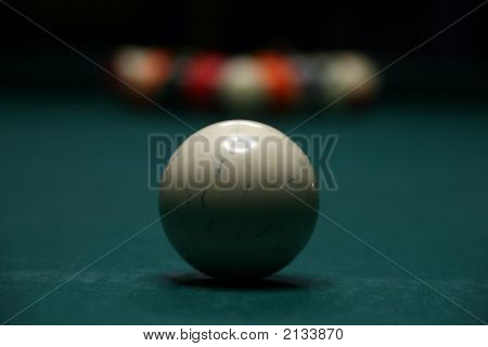 Billiard, Pool,Balls In Depth, Concentration On The Main Ball