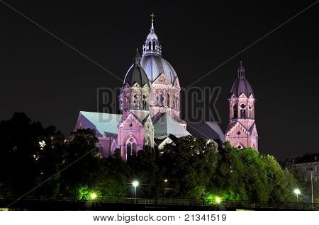 St. Lukas Isar night view. munich. germany