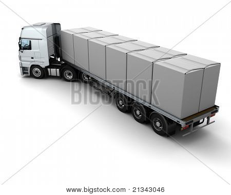 3D Render of HGV Truck Shipping White Boxes