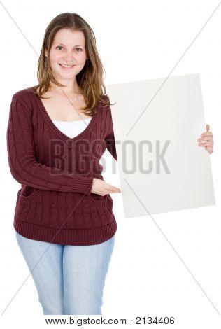 Casual Girl Holding A Cardboard