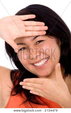 Asian Girl Doing A Handframe