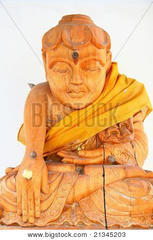 Carved Wooden Buddha In Wat Pai Lom, Koh Kret