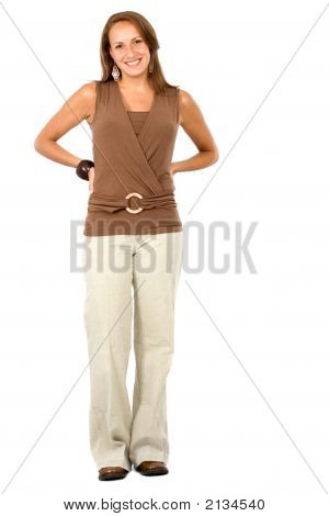 Confident And Friendly Woman Standing