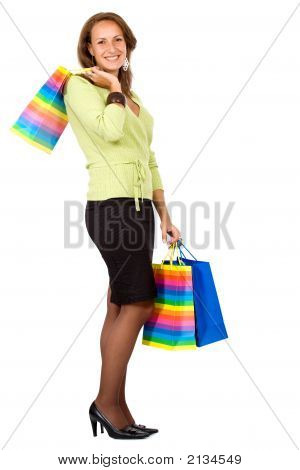 Business Woman With Shopping Bags