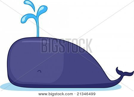 Illustration of a Whale Spouting Out Water