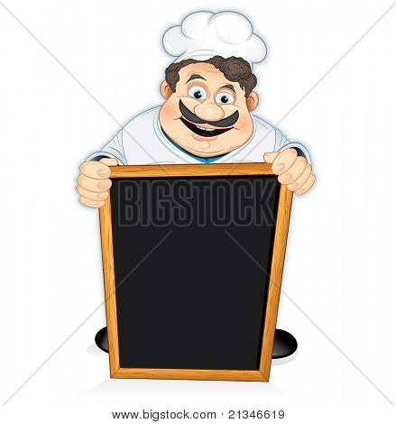 Cartoon Chef Cook with blank wooden menu board