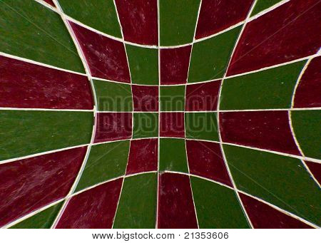 Red And Green Tile Checkerboard Blast Out