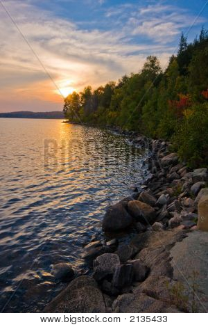 Colorful Sunset Interior Lake, Algonquin Provincial Park, Ontario, Canada