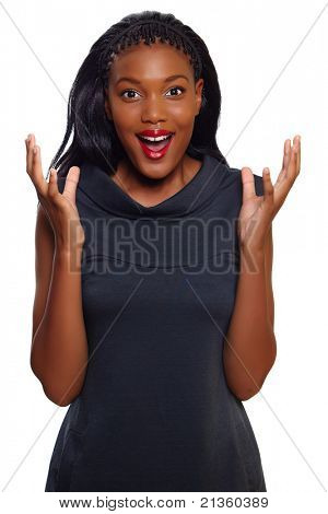 African American business woman screams in happy surprise over white background