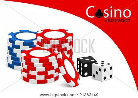 Casino vector illustration (some chips on white background)