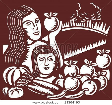 woman mother child holding apple