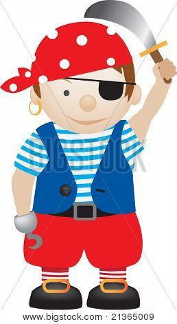little boy dressed up as a pirate cartoon