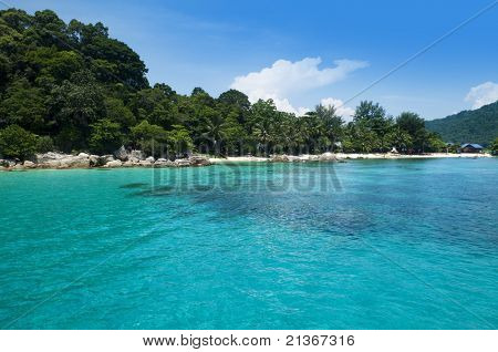 Blue beach at Pulau Perhentian, Malaysia.