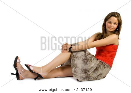 Pretty Young Girl Sets Upon Floor