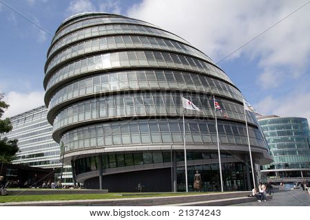 LONDON - May 30: The London City Hall Building on May 30, 2011 in London. The building is considered a green building because solar panels were installed on the City Hall's roof in August 2007.