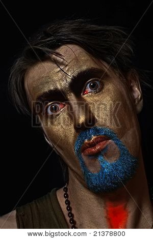 Man  With Bronze Makeup
