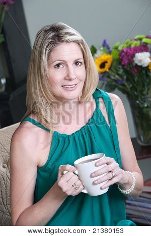 Woman Having Cofee