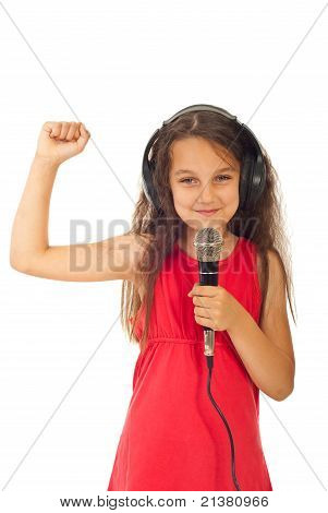 Cheerful Girl Singing
