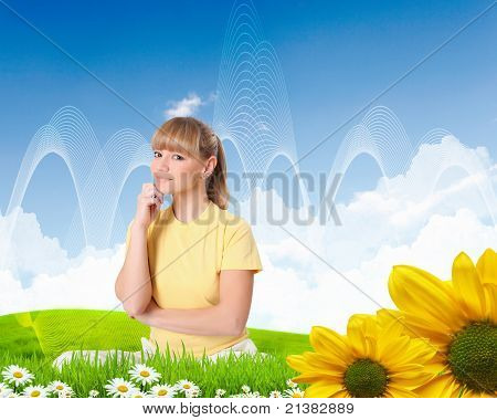 Portrait of a young woman meditating on nature