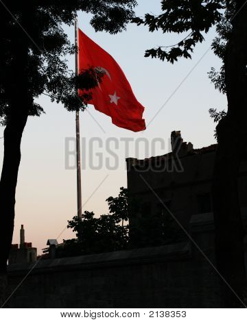 Turkish Flag On A Wind