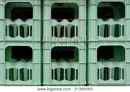 Stacked empty bottle crates
